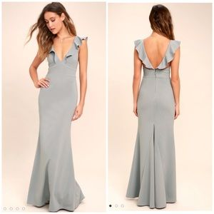 Lulus Grey Perfect Opportunity Maxi Dress Size S